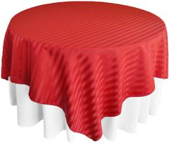 "72"" Striped Damask Jacquard Polyester Table Overlays - Apple Red 86408 (1pc/pk)"