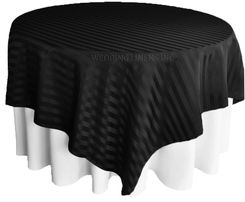 "72"" Striped Damask Jacquard Polyester Table Overlays - Black 86439 (1pc/pk)"