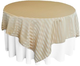 """72"""" Striped Damask Jacquard Polyester Table Overlays - Champagne 86428 (1pc/pk)"""