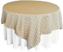 "72"" Striped Damask Jacquard Polyester Table Overlays - Champagne 86428 (1pc/pk)"