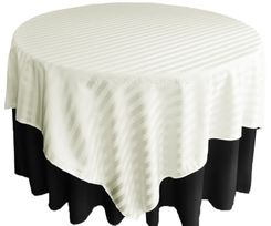 "72"" Striped Damask Jacquard Polyester Table Overlays - Ivory 86402 (1pc/pk)"