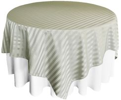 "72"" Striped Damask Jacquard Polyester Table Overlays - Silver 86440 (1pc/pk)"