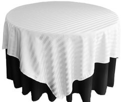 "72"" Striped Damask Jacquard Polyester Table Overlays - White 86401 (1pc/pk)"