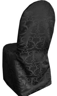 Versailles Chopin Jacquard Polyester Banquet Chair Cover-Black 93239 (1pc/pk)