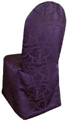 Versailles Chopin Jacquard Polyester Banquet Chair Cover-Eggplant 93245 (1pc/pk)