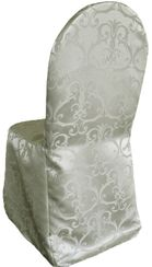 Versailles Chopin Jacquard Polyester Banquet Chair Cover-Silver 93240 (1pc/pk)
