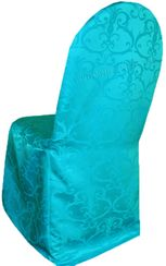Versailles Chopin Jacquard Polyester Banquet Chair Cover-Turquoise 93285 (1pc/pk)