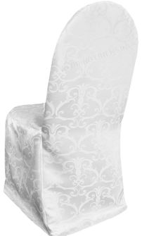 Versailles Damask Jacquard Polyester Banquet Chair Cover - White 93201 (1pc/pk)
