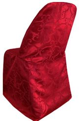 Versailles Damask Jacquard Folding Chair Covers - Apple Red 93108(1pc/pk)