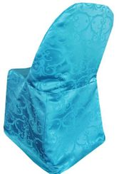 Versailles Damask Jacquard Folding Chair Covers - Turquoise 93185(1pc/pk)