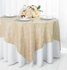 "72"" Versailles Damask Jacquard Polyester Table Overlays - Champagne 92428 (1pc/pk)"