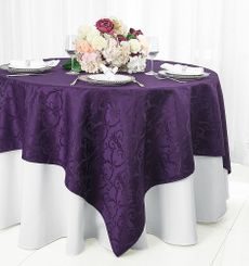 "72"" Versailles Damask Jacquard Polyester Table Overlays - Eggplant 92445 (1pc/pk)"