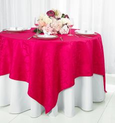 "72"" Versailles Damask Jacquard Polyester Table Overlays - Fuchsia 92409 (1pc/pk)"