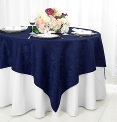 "72"" Versailles Damask Jacquard Polyester Table Overlays - Navy Blue 92423 (1pc/pk)"