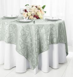 "72"" Versailles Damask Jacquard Polyester Table Overlays - Silver 92440 (1pc/pk)"