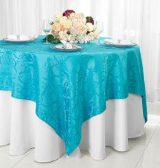 "72"" Versailles Damask Jacquard Polyester Table Overlays - Turquoise 92485 (1pc/pk)"