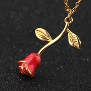 Gold Red Rose Necklace