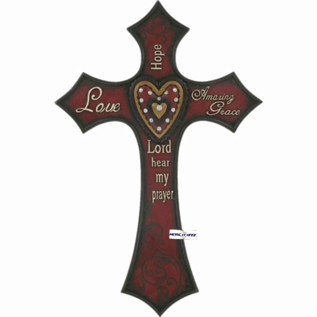 Amazing Grace Red Heart Wall Cross
