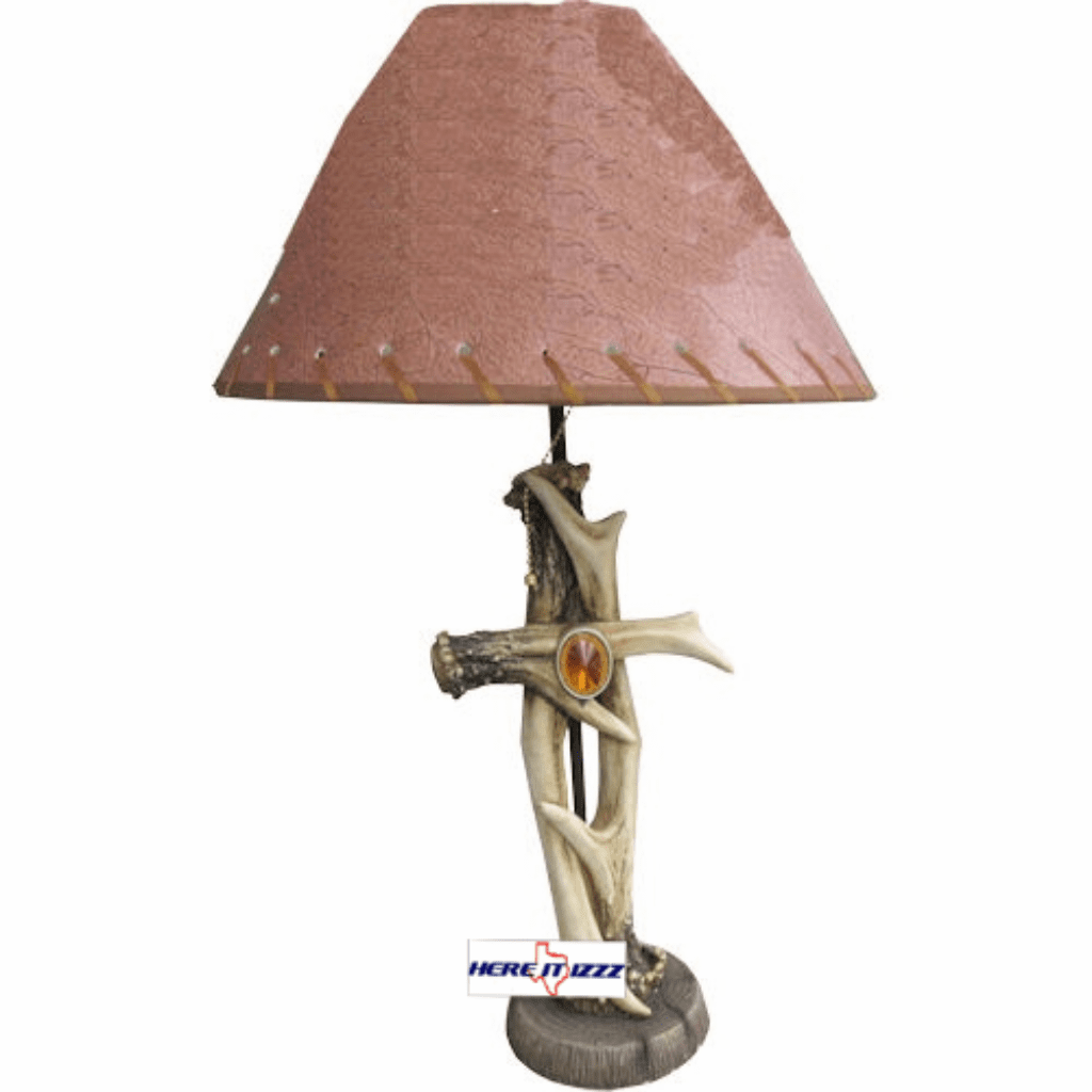 Antler Cross with Stone Table Lamp