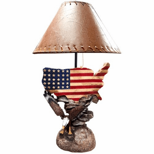Bald Eagle United States Flag Map Lamp