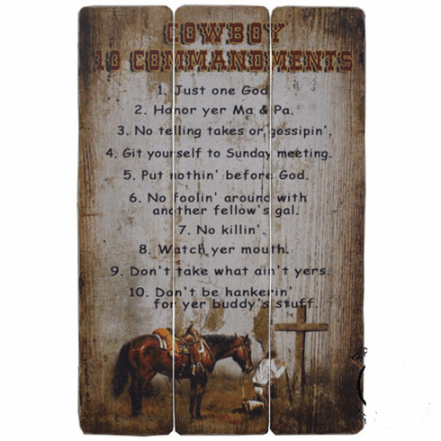 "Barn Wood Wall Decor ""Cowboy 10 Commandments"""