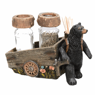 Black Bear Pulling Cart Salt And Pepper Shakers Set