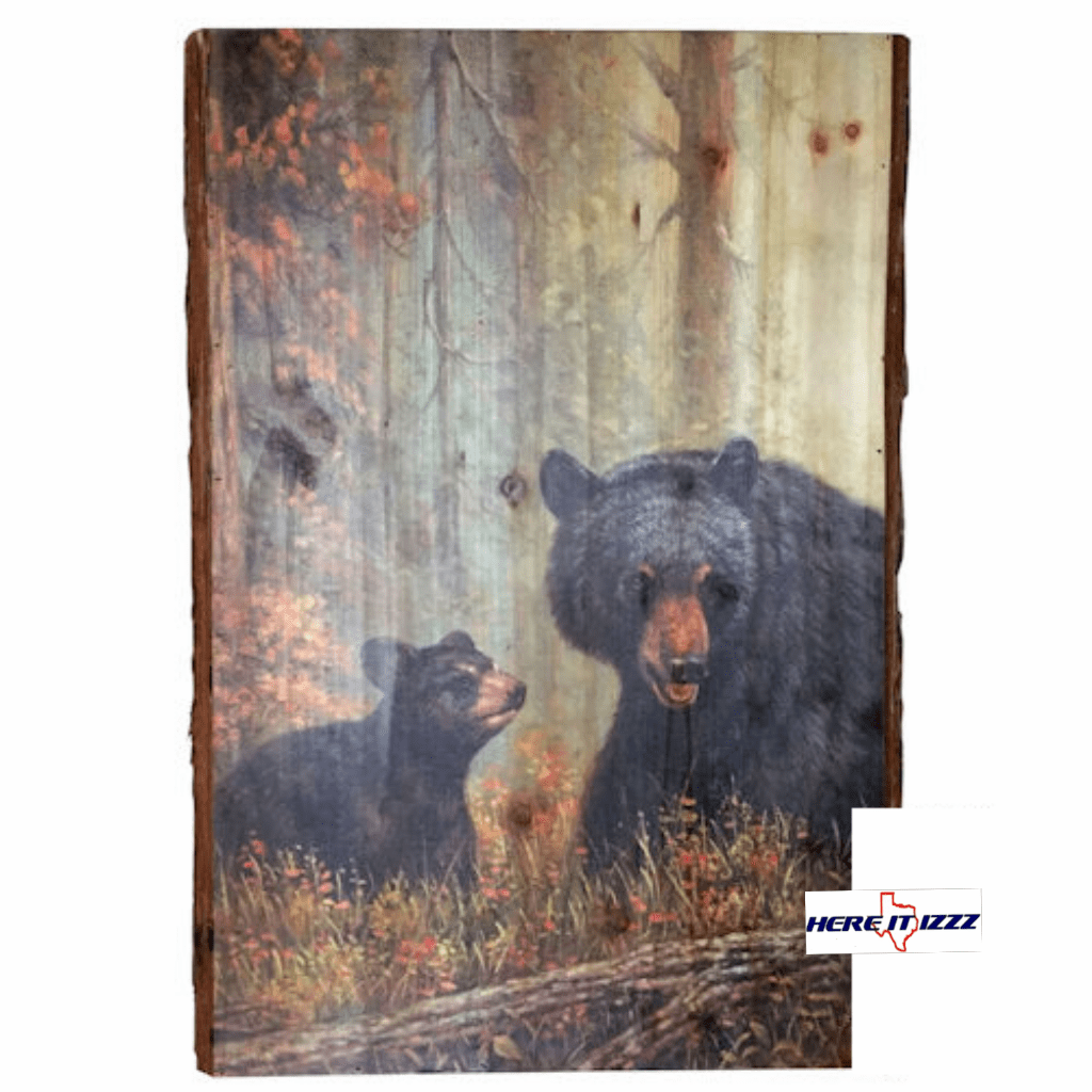 Black Bear With Cub Wall Art