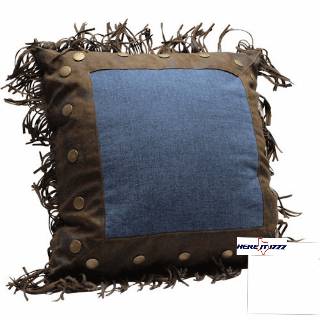 Blue Jean Pillow with Fringe