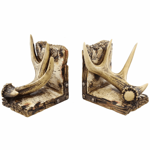 Buck Deer Antler Bookends Wildlife Lodge Decor