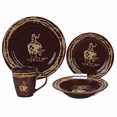 Bull Rider and Barbwire Dinner Set