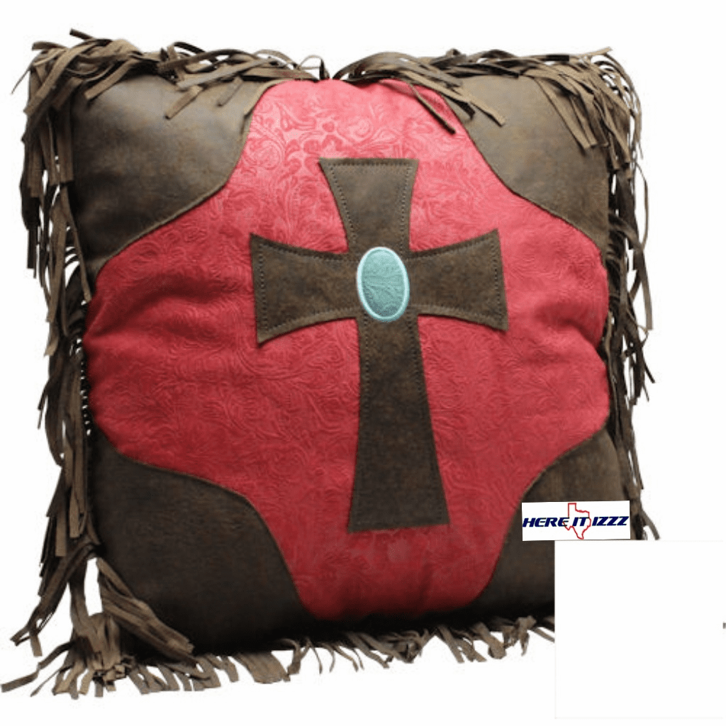 Burgundy Cross Throw Pillow