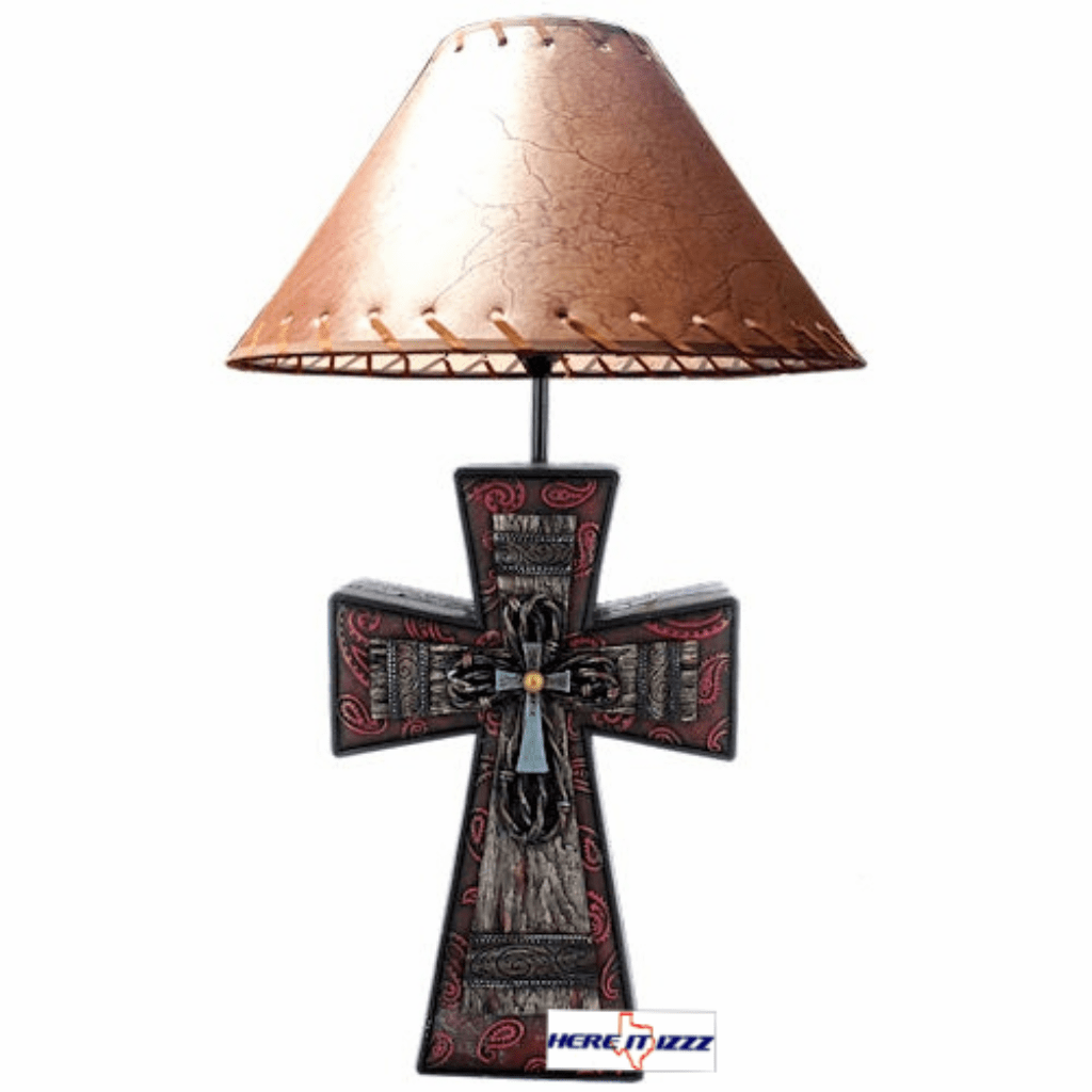 Burgundy Cross with Paisley  Lamp