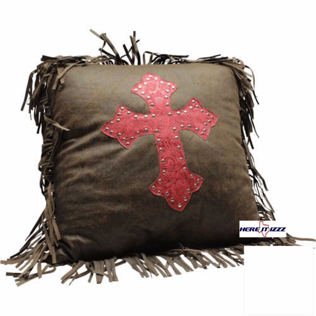 Burgundy Tooled Cross Pillow