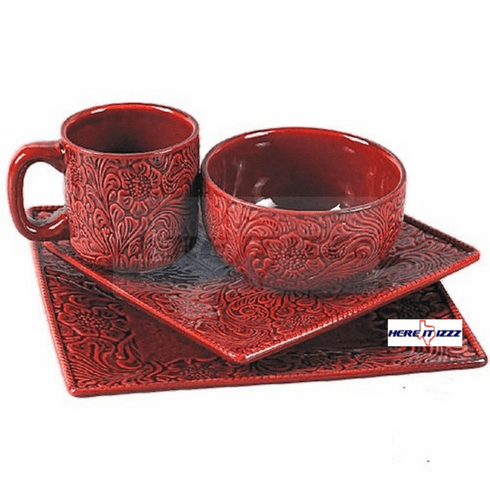 Burgundy Tooled  Dinner Set