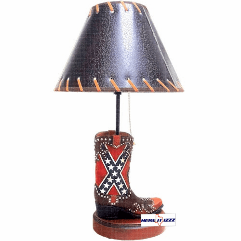 Confederate Flag Boot Table Lamp