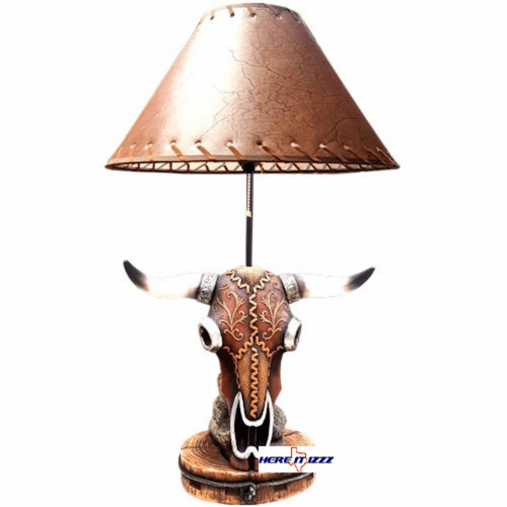 Cow Skull Steer Head Table Lamp