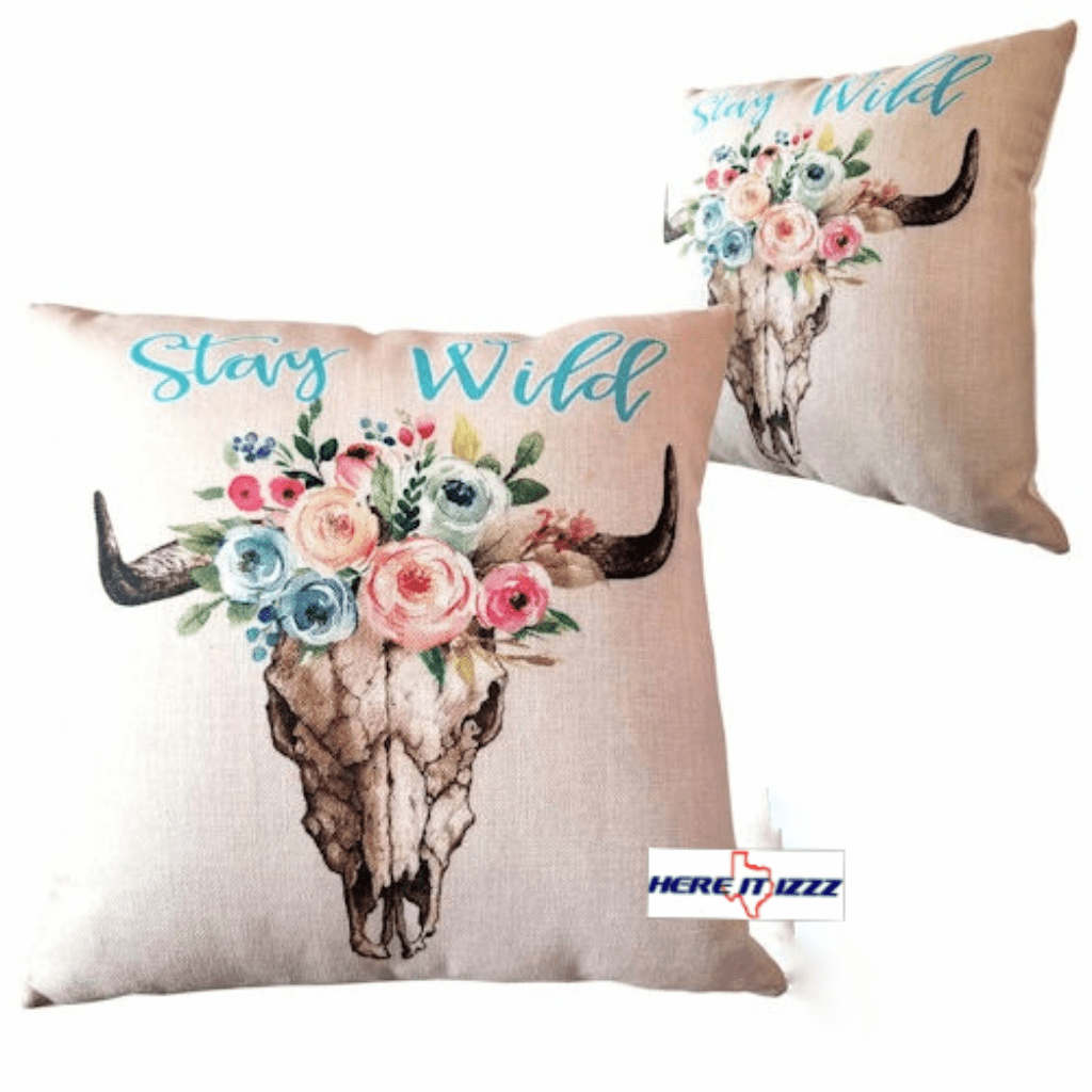 Cow Skull with Flower Pillow