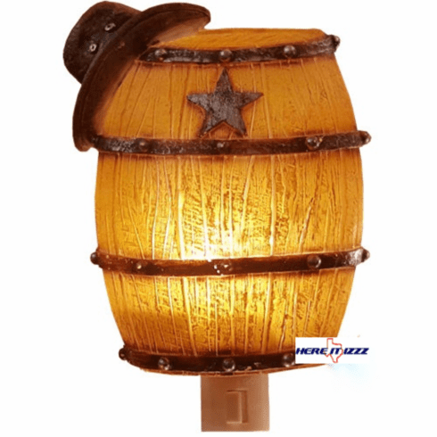 Cowboy Hat with Western Barrel Night Light