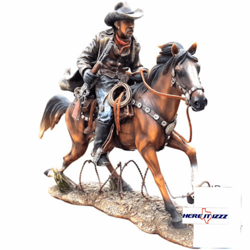 Cowboy On Galloping Horse Figurine