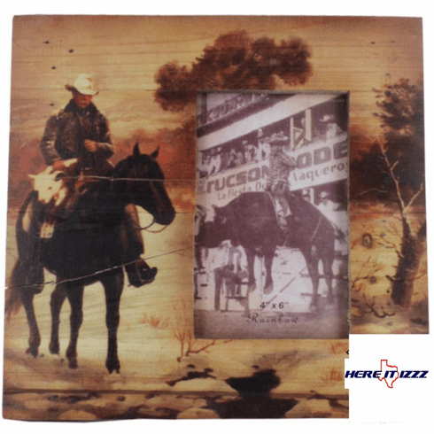Cowboy On Horse 4X6 Wooden Frame