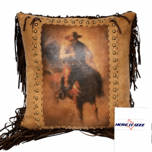 Cowboy On Horse Western Pillow