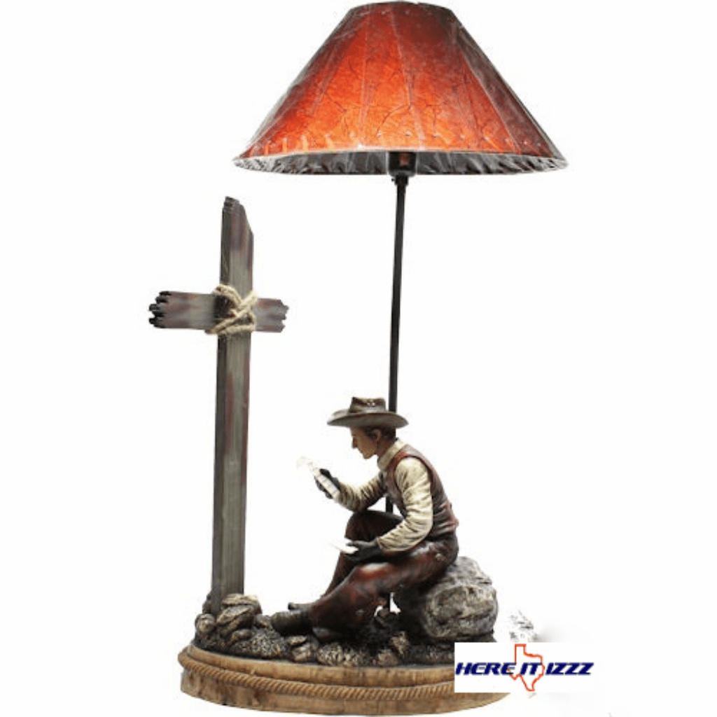 Cowboy Praying At The Cross with Bible Lamp