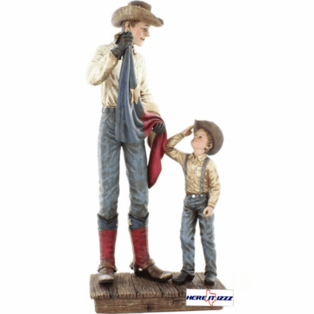Cowboy with Texas Flag Desk Figurine