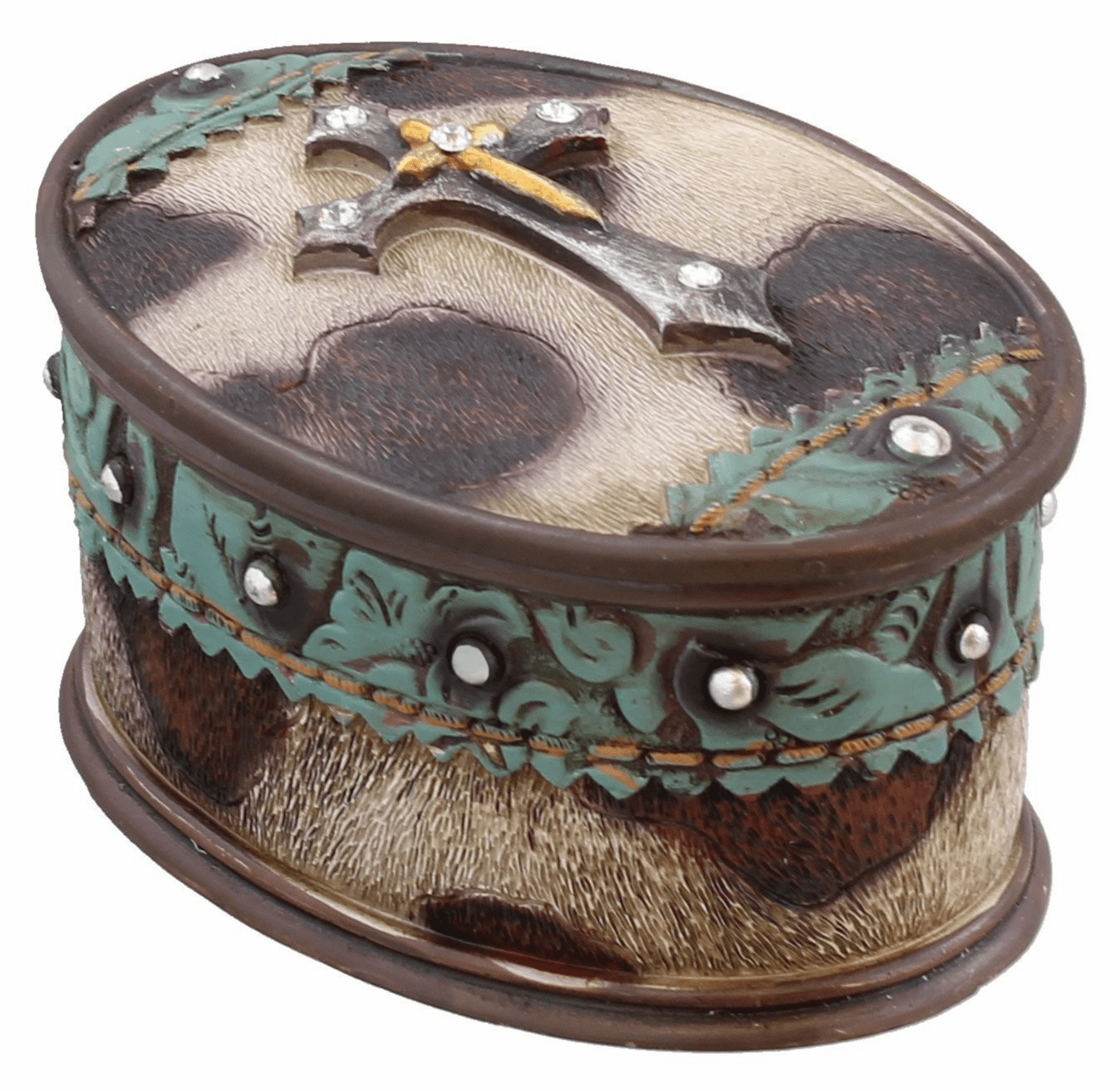 Cowhide Cross Jewelry Ring Trinket Box