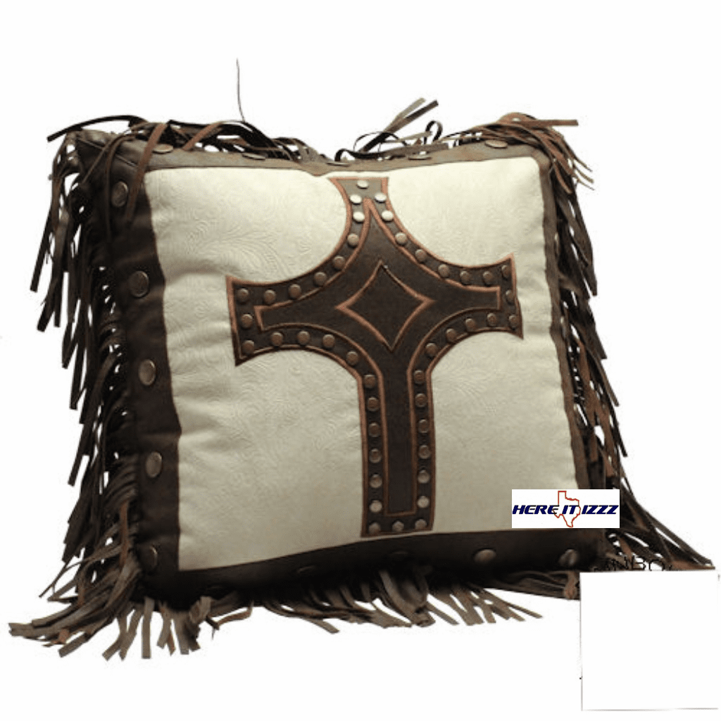 Cream Tooled Cross Pillow
