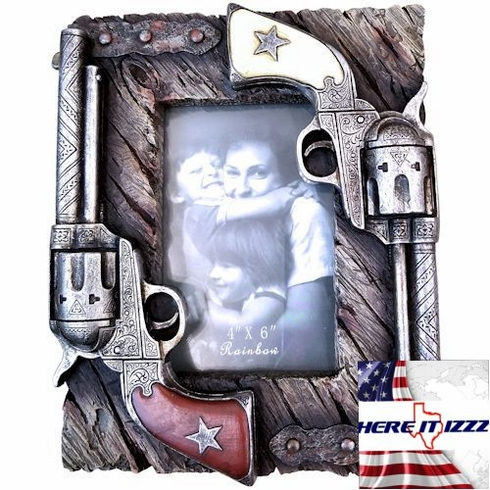 Double Gun Six Shooter 4x6 Picture Frame