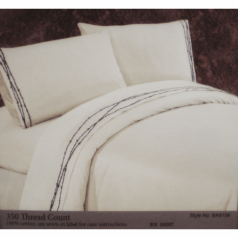 Embroidered Barbwire Sheet Set King