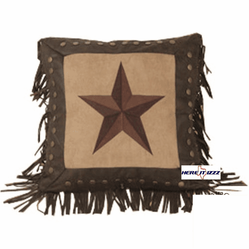 Embroidered Star Pillow with Fringe