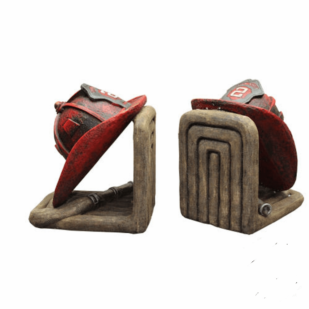 Fireman Helmet and Hose Bookends