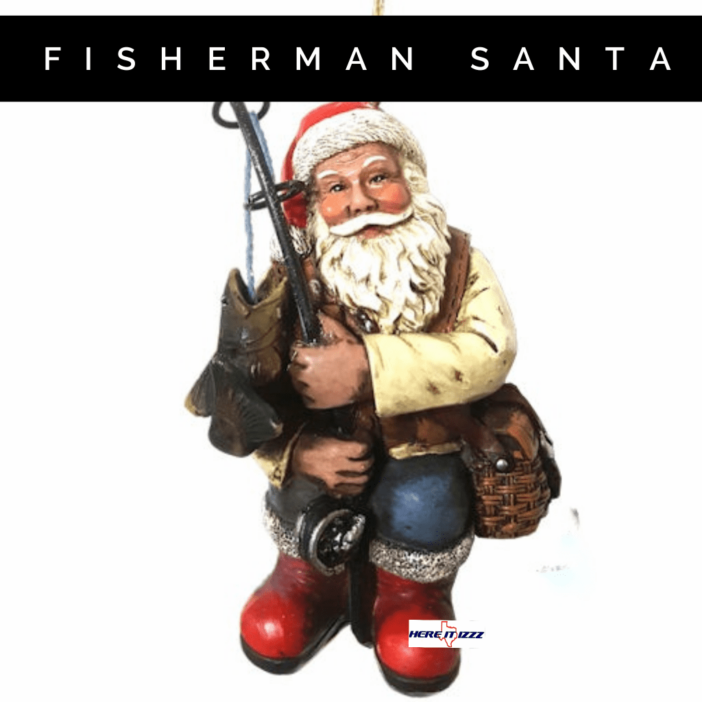 Fishing Santa Holiday Ornament